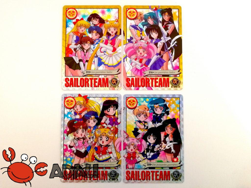 Les quatre prismes qui forment deux puzzles dans les Carddass françaises Sailor Moon