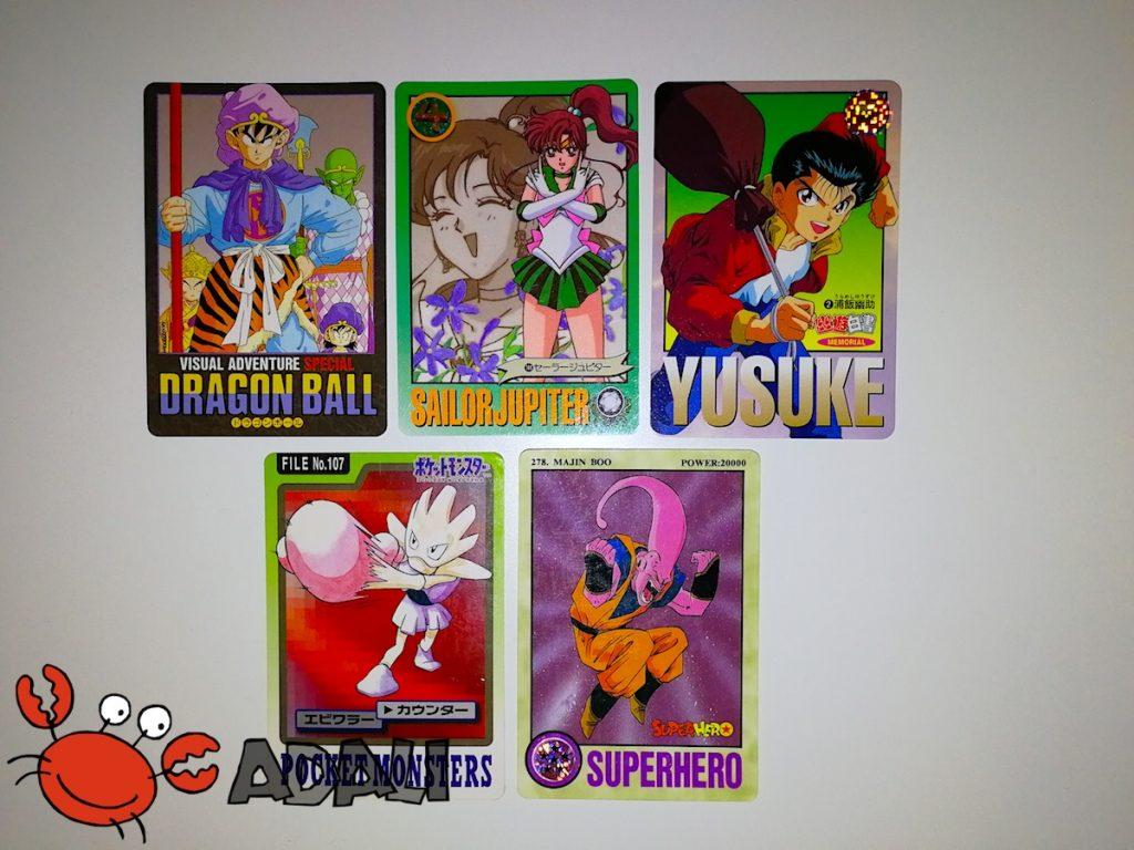Carddass d'autres licences avec une maquette similaire aux Carddass françaises Sailor Moon